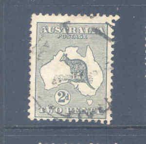 AUSTRALIA PREDECIMAL KANGAROO TWO PENCE GREY 1ST W/M  VERY FINE USED..........7