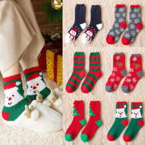 Christmas Fluffy Socks Coral Velvet Soft Floor Sock Winter Lounge Bed Xmas Gift