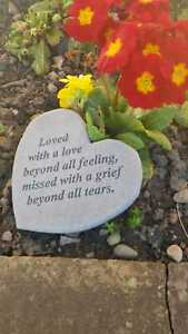 Special Heart Memorial Garden Stone Grave Plaque Loved with a Love & Missed
