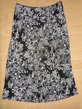 BHS LONG SKIRT BLACK WITH WHITE FLOWERS SIZE 10