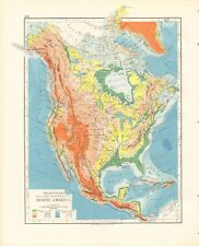 1897 ANTIQUE MAP- JOHNSTON - NORTH AMERICA, MOUNTAINS, TABLE LANDS, PLAINS AND V