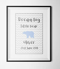 Personalised Baby Name Picture Christening Gift -nursery Wall Art- A4 Print Only