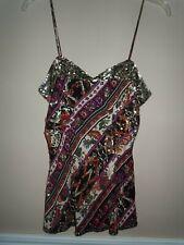 Diane von Furstenberg Spaghetti Strap Multicolor 100% Silk Sequince Top Size S