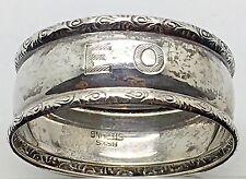 Birks Sterling Silver Napkin Ring Holder  Initial Monogram EO OE Ornate Edge