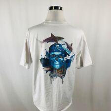 Guy Harvey White Skull Shark Graphic T-Shirt Mens 2XL XXL