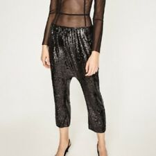 ZARA SEQUIN HAREM PANT/ TROUSERS BLACK NWT SIZE S
