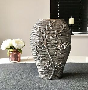 Lesser And Pavey Ceramic Grey And Silver Oval 26cm Tall 3D Effect Willow Vase