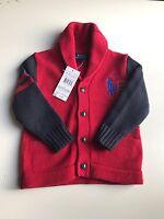 Polo Ralph Lauren Boys Designer shawl collar  knitted Jumper size 2T
