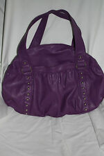 PURPLE LARGE PURSE SATCHEL WITH SILVER GROMMET DETAILS