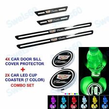 Carbon Fiber Plate Door Sill Scuff Cover Decal Sticker+ LED Coaster For Cadillac