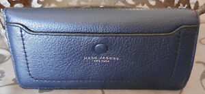 MARC JACOBS ~Leather EMPIRE CITY Longline Slim Snap Bifold Wallet~NAVY~NWT $165