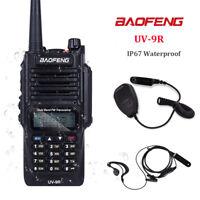 1x Baofeng UV-9R waterproof 8W 128CH FM UHF/VHF Walkie Talkie ham Radio+Micphone
