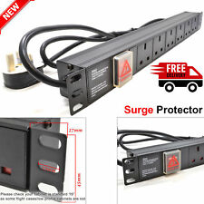 "6 Way 13A PDU Power Distribution Extension Unit Horizontal 19"" Rack Mount Switch"