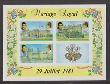 1981 Royal Wedding Charles & Diana MNH Stamp Sheet Comoros Imperf SG MS455