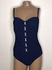 Sz 10 Profile Gottex Moto Bandeau Grommet Lace Up Front Swimsuit Blue Pink