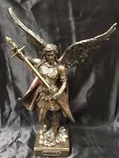 Arch Angel St Michael Religious Bronze Coated Statue 32cm tall Brand New