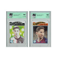 Cristiano Ronaldo + Lionel Messi 2019, 2020 Topps Living Set 2) Card Lot PGI 10