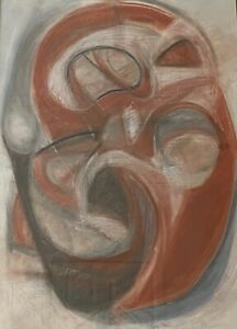 Large Framed Mounted Signed Pastel Abstract Portrait Head Of Man