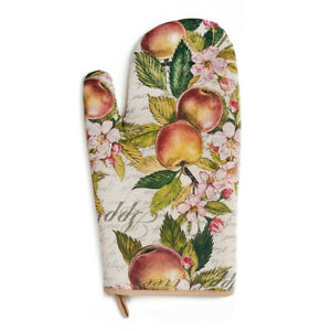 Thick Oven Mitt in Floral Apples Pattern, Russian Handmade Potholder