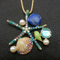 Betsey Johnson Blue Enamel Crystal Shell Conch Starfish Pendant Long Necklace