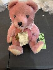 """Vintage Hermann Original Teddy 12"""" Pink Jointed Mohair Ruffle Lace Collar No.35"""