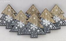 6 GREY WOODEN CHRISTMAS TREE & SNOWFLAKE 45mm DECORATION STICK ON SELF ADHESIVE