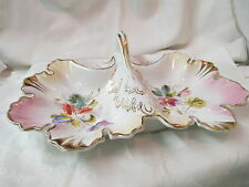 Antique Germany C.T. Carl Tielsch Divided leaf shaped Dish hand painted Flowers