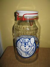 VTG PILLSBURY DOUGHBOY POPPIN FRESH GLASS CANISTER*COOKIE JAR*CONTAINER*large
