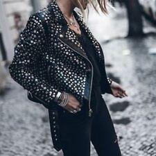 Belle Vere Moto Motorcycle Biker Black Studded Faux Leather Jacket $1400NWT Sz S
