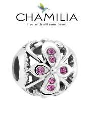 Genuine CHAMILIA 925 silver Amethyst Swarovski TRUTH charm bead, flower filigree
