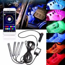 4x 9LED RGB Remote Control Car Charge Interior Floor Atmosphere Light Strip Bar