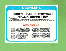 1979  CRONULLA  SHARKS   RUGBY LEAGUE  CHECKLIST CARD, UNCHECKED