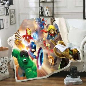 LEGO Edition Lovely Avengers 3D Warm Plush Fleece Blanket Picnic Sofa Couch