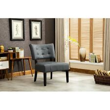 Gray Tufted Accent Chair Oversized Wood Legs Frame Dressing Mirror Table Makeup