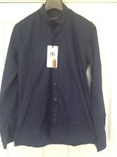 MENS SMART CASUAL NAVY BLUE SHIRT RE-ROCK SIZE MEDIUM BNWT