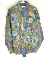 GOOUCH Mens Small Long Sleeve Shirt Silk Button Up 90s Abstract Art NWT VTG