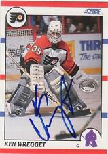 KEN WREGGET Autographed Signed 1990-91 Score card Philadelphia Flyers COA