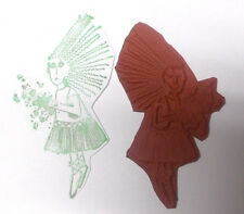 Wild haired woman rubber stamp lady girl stamps stars confetti people unmounted