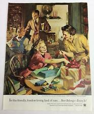 Vintage Original Print Ad 1954 US Brewers Foundation Beer Belongs Freedom PA-206