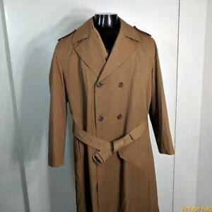 MISTY HARBOR Vtg Heavy Long RAINCOAT Rain Trench Coat Mens Size L 42 Brown lined