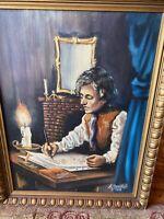 vintage original oil painting signed Young Abraham Lincoln Framed Art