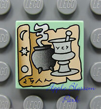 NEW Lego Harry Potter 2x2 Green Decorated FLAT TILE Scroll Black Potion Cauldron