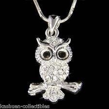 w Swarovski Crystal ~Owl Hoot Bird Wise Smart Teacher Charm Pendant Necklace NEW