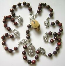 Rare Skull Red Sandalwood Bead SEVEN 7 SORROWS Rosary CRUCIFIX CATHOLIC NECKLACE