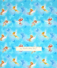 Tinkerbell Fairy Butterfly on Blue - Springs Cotton Fabric YARDS