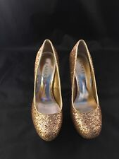 Bakers Gold Glitter Women's Shoes Pumps Size 6 1/2 M 5 Inches Pump