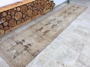 3'1''x13'2'' Vintage Oushak Rug Runner,Turkish Runner Rug,Ushak Carpet Runner