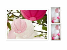 "12x8"" Brand New Round Paper Lanterns Lamp (4 white + 4 Pink + 4 Hot Pink)"