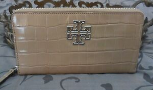 Tory Burch ~Leather BRITTEN Croc Zip Continental Wallet~GREY~TAUPE~NWT $239