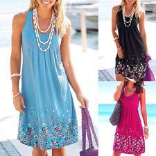 Neue Boho Frauen Sommer Blumen Ärmellos Strand Kleid Abend Party Mini Sundress